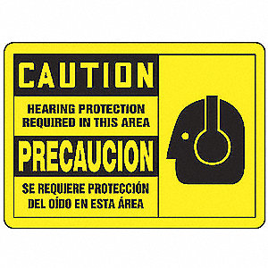 Caution Sign,3-1/2 x 5In,BK/YEL,SURF,PK5
