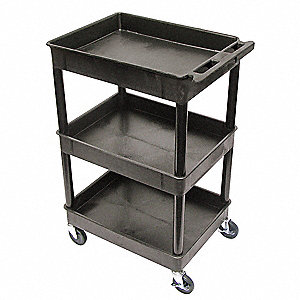 "24""L x 18""W Black Utility Cart, 300 lb. Load Capacity, Number of Shelves: 3"