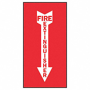 Fire Extinguisher Sign,14 x 5In,WHT/R,AL