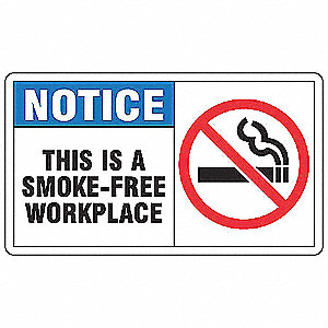 Notice No Smoking Sign,7 x 10In,PLSTC