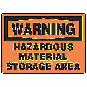 Warning Sign,10 x 14In,BK/ORN,ENG,Text