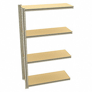 "Add-On Boltless Shelving with Particle Board Decking, 4 Shelves, 49""W x 18-5/8""D x 84""H"