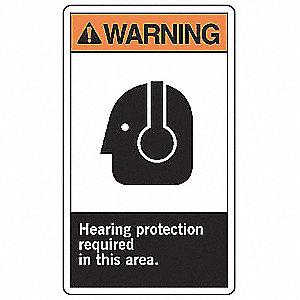 "Personal Protection, Warning, Plastic, 10"" x 7"", With Mounting Holes, Not Retroreflective"