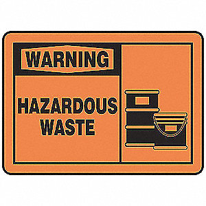 Warning Sign,10 x 14In,BK/ORN,AL,HAZ W