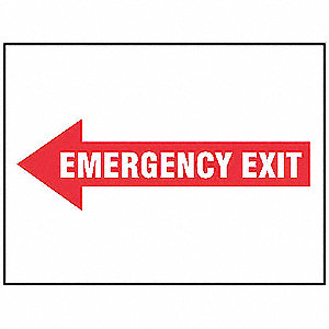"Emergency Exit Sign,7"" x 10"",Aluminum"