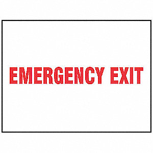 "Emergency Exit Sign,7"" x 10"",Vinyl"