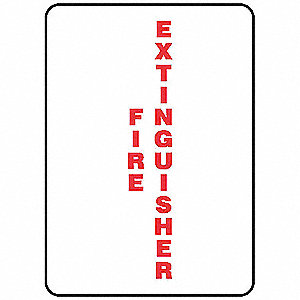Fire Extinguisher Sign,10 x 7In,R/WHT