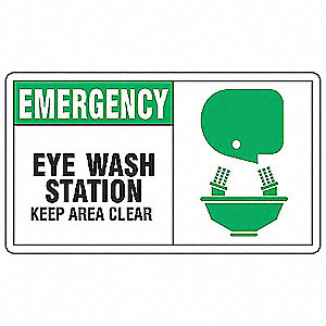 "Eyewash and Shower, No Header, Vinyl, 7"" x 10"", Adhesive Surface, Not Retroreflective"