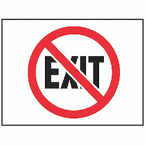 Fire Exit Sign,7 x 10In,R and BK/WHT,ENG