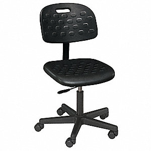 "Black Polyurethane Task Chair 12"" Back Height, Arm Style: No Arm"