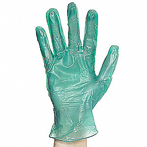"11"" Powdered Unlined Vinyl Disposable Gloves, Green, Size  M, 100PK"