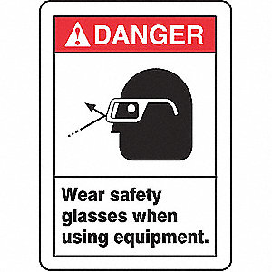 Danger Sign,10 x 7In,R and BK/WHT,ENG