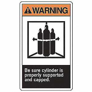 Warning Sign,10 x 7In,ORN and BK/WHT,ENG