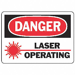 "Laser Hazard, Danger, Aluminum, 7"" x 10"", With Mounting Holes, Not Retroreflective"