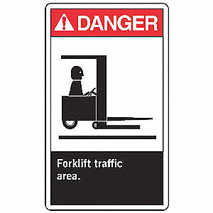 Forklift Traffic Sign,10 x 7In,AL,ENG