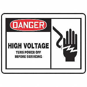 "Electrical Hazard, Danger, Vinyl, 7"" x 10"", Adhesive Surface, Not Retroreflective"