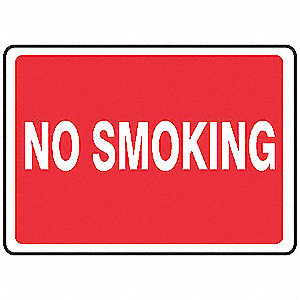 No Smoking Sign,7 x 10In,WHT/R,ENG,Text