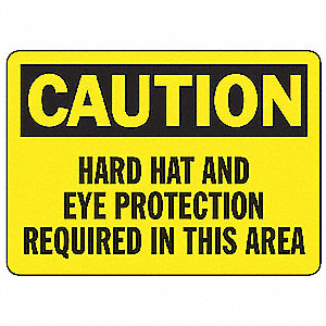Caution Sign,7 x 10In,BK/YEL,PLSTC,ENG