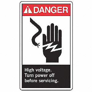 "Electrical Hazard, Danger, Vinyl, 10"" x 7"", Adhesive Surface, Not Retroreflective"