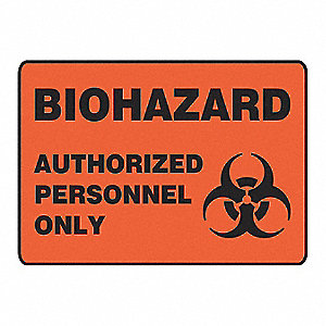 Biohazard Sign,7 x 10In,BK/ORN,SURF