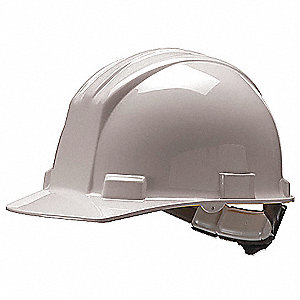 Hard Hat, 4 pt. Ratchet Suspension, White, Hat Size: 6 1/2 to 8