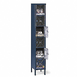 "Blue Box Locker, (1) Wide, (6) Tier , Openings: 6, 12"" W X 18"" D X 78"" H"