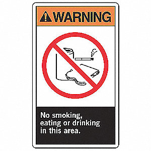 "No Smoking, Warning, Plastic, 10"" x 7"", With Mounting Holes, Not Retroreflective"