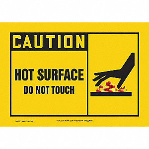 Caution Sign,7 x 10In,YEL, R and BK/WHT