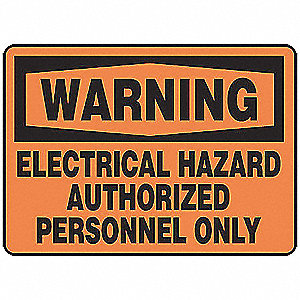 "Electrical Hazard, Warning, Vinyl, 7"" x 10"", Adhesive Surface, Not Retroreflective"