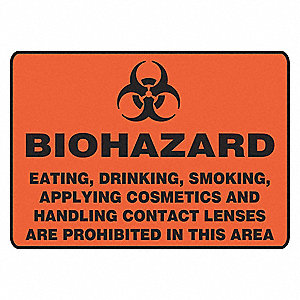 Biohazard Sign,10 x 14In,BK/ORN,AL,SURF