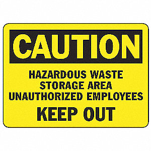 "Chemical, Gas or Hazardous Materials, Caution, Aluminum, 7"" x 10"", With Mounting Holes"