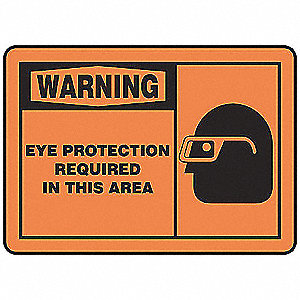 Warning Sign,10 x 14In,BK/ORN,AL,ENG
