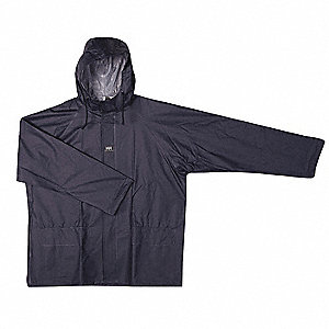 "Men's Navy PVC Rain Jacket with Hood, Size XL, Fits Chest Size 48"" to 50"""