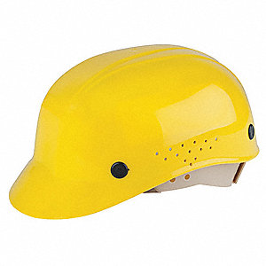 Yellow Polyethylene Vented Bump Cap, Style: Front Brim, Fits Hat Size: 6-1/2 to 8