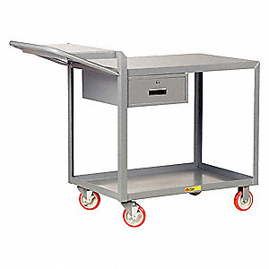 "64""L x 24""W x 40""H Steel Order Picking Cart with Drawer, 1200 lb. Load Capacity, Number of Shelves:"