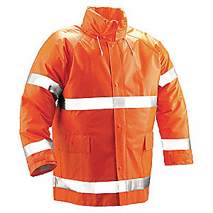 Flame Resistant Rain Jacket, PPE Category: 0, High Visibility: Yes, Polyester, PVC, 2XL, Orange