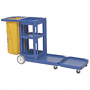 Janitor Cart,73 In x 30 In x 38 In,Blue