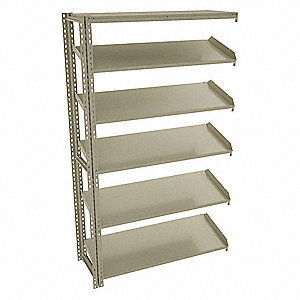 "Add-On Boltless Shelving with Steel Decking, 5 Shelves, 49""W x 24-5/8""D x 84""H"