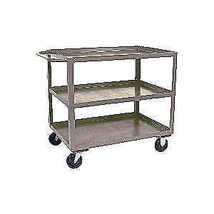 "42""L x 25""W x 35""H Gray Steel Welded Utility Cart, 1400 lb. Load Capacity, Number of Shelves: 3"