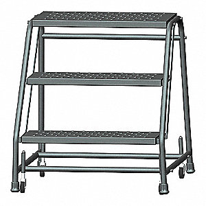 "3-Step Rolling Ladder, Perforated Step Tread, 28-1/2"" Overall Height, 450 lb. Load Capacity"