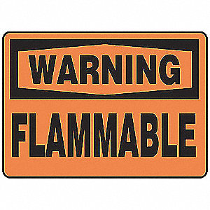 Warning Sign,10 x 14In,BK/ORN,FLMB,ENG