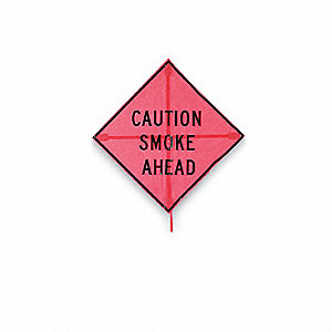 Caution Fire Smoke Ahead Sign,36 x 36In
