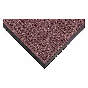 "Indoor Entrance Mat, 8 ft. L, 6 ft. W, 3/8"" Thick, Rectangle, Burgundy"