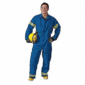 "Blue Extrication Coverall, Cotton, S, Fits Chest Size 36"" to 38"", Inseam 30"""