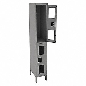 "Gray Wardrobe Locker, (1) Wide, (2) Tier Openings: 2, 12"" W X 18"" D X 78"" H"