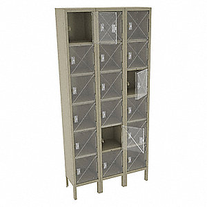 Box Locker,Clearview,3 Wide, 6 Tier,San