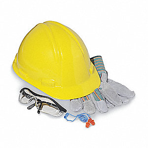 E Front Brim Hard Hat Construction Kit w/ Safety Glasses, Earplugs and Leather-Palm Gloves, Yellow