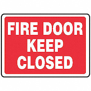 Fire Door Sign,7 x 10In,WHT/R,ENG,Text