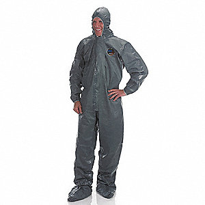 Hooded Chemical Resistant Coveralls with Elastic Cuff, Pyrolon® CRFR Material, Green, M