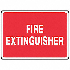 Fire Extinguisher Sign,7 x 10In,WHT/R